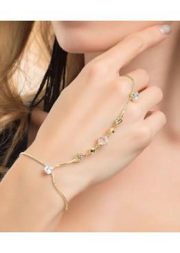 Стильный браслет с кольцом на цепочке, декорированный крупными камнями