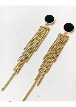 Золотистые серьги-подвески с цепочками