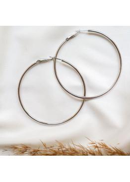 Серебристые серьги-кольца