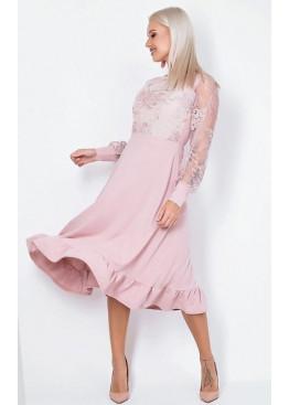 Коктейльное платье с длинными пышными рукавами, Пудра