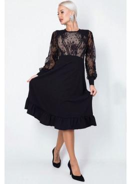 Коктейльное платье с длинными пышными рукавами, черный