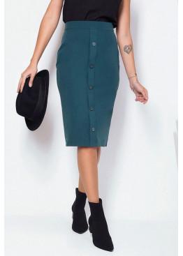 Стильная юбка-карандаш миди, хвойный