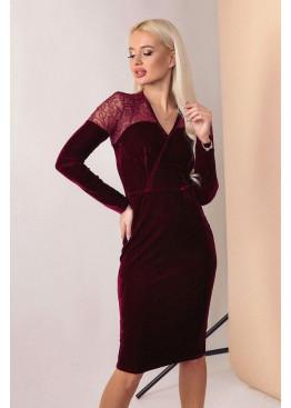 Бархатное платье с длинными рукавами и имитацией запаха, Бордо