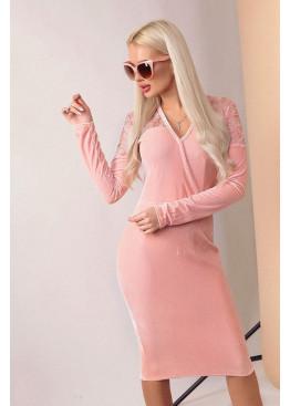 Бархатное платье с длинными рукавами и имитацией запаха, Персик