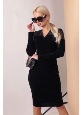 Бархатное платье с длинными рукавами и имитацией запаха, черный