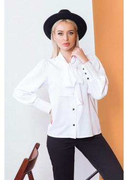Блузка на пуговицах с воротником-стойкой, Белый
