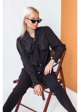 Блузка на пуговицах с воротником-стойкой, черный
