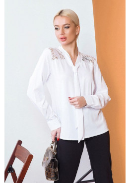 Рубашка свободного кроя с длинными рукавами с манжетами, Белый