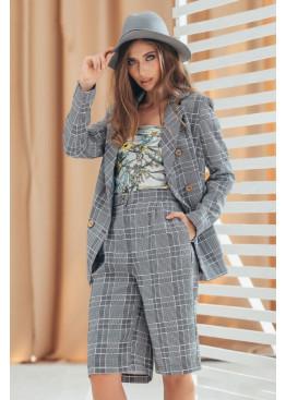 Шикарный костюм пиджак+шорты, серый в клетку