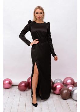 Платье приталенного кроя, длиной в пол с высоким разрезом на ножку, черный
