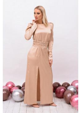 Платье приталенного кроя, длиной в пол с высоким разрезом на ножку, беж