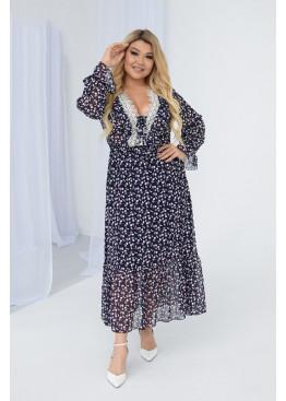 Платье роскошное струящееся на подкладке, с длинными рукавами, Шифон с 5-D печатью, фрезовый
