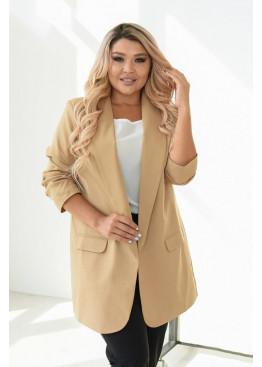 Классический женский пиджак прямого силуэта, Бежевый