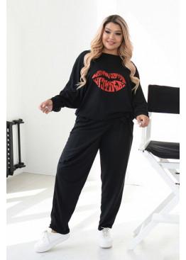 Спортивный костюм из свободной кофты и брюк оригинального кроя, Черный
