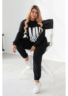 Стильный спортивный костюм из кофты свободного кроя и брюк на манжетах, черный