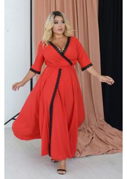 Платье приталенного кроя макси длины на запах с глубоким V-образным вырезом, красный