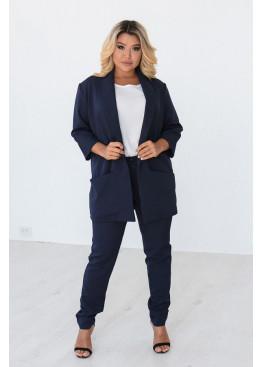 Брючный костюм для офиса, темно-синий