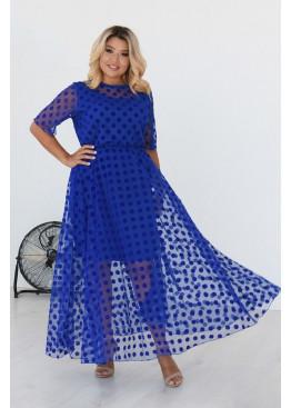 Платье из сетки флок макси длины, Электрик