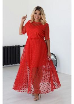 Платье из сетки флок макси длины, красный