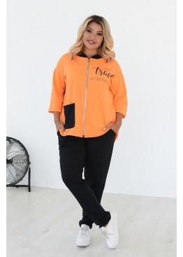 Стильный спортивный костюм с капюшоном, Оранжевый-Черный