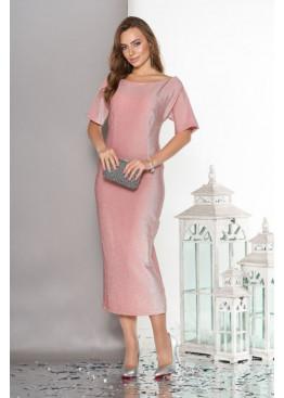 Вечернее платье с ложным запахом по спинке, розовое