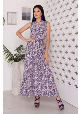 Стильное платье свободного кроя A-229 длиной макси, огурец голубой