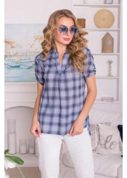 Льняная повседневная рубашка в клетку свободного силуэта, синяя