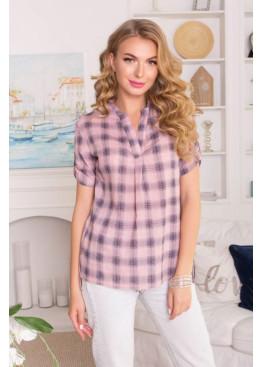 Льняная повседневная рубашка в клетку свободного силуэта, розовая