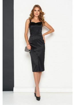 Эффектное приталенное платье на бретелях А-208, черный