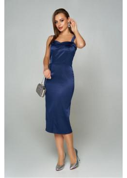 Эффектное приталенное платье на бретелях А-208, темно-синий