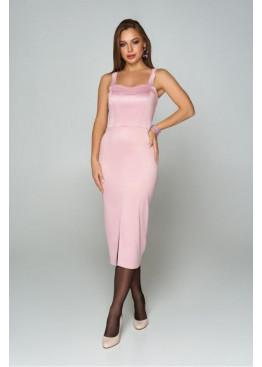 Эффектное приталенное платье на бретелях А-208, розовый