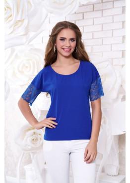 Блуза А-38, синяя с горизонтальной вставкой из гипюра