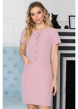 Стильное платье S-195 розового цвета с накладными карманами по переду