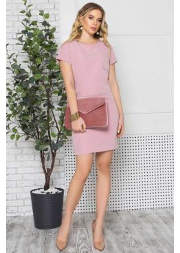 Стильное платье S-196 с накладным карманом на груди, розовый