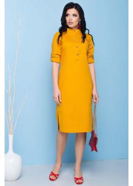 Льняное платье А-86 прямого кроя с разрезами по боковым швам, жёлтый