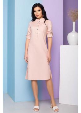 Льняное платье А-86 прямого кроя с разрезами по боковым швам, розовый