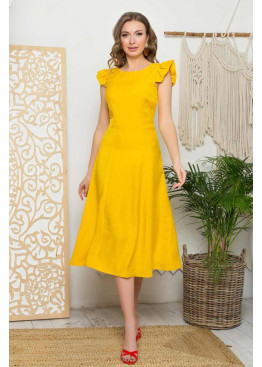 Платье L-405 с юбкой миди, желтый