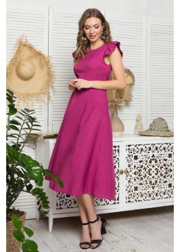 Платье L-405 с юбкой миди, малиновый