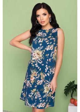 Штапельное платье S-205 с кокеткой, синий в цветы