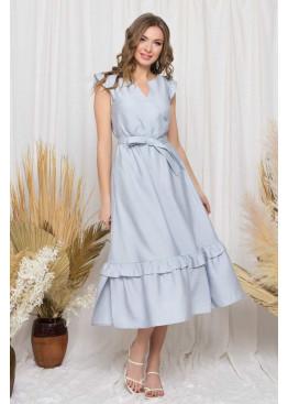 """Легкое платье """"S-212"""" с имитацией запаха и длинной расклешенной юбкой, серый"""