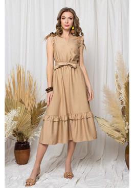 """Легкое платье """"S-212"""" с имитацией запаха и длинной расклешенной юбкой, бежевый"""