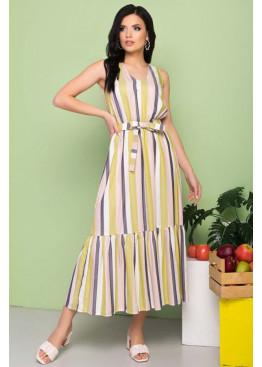 """Легкое платье """"S-213"""" в полоску длинной макси, салатовый"""
