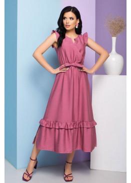 """Легкое платье """"S-212"""" с имитацией запаха и длинной расклешенной юбкой, розовый"""