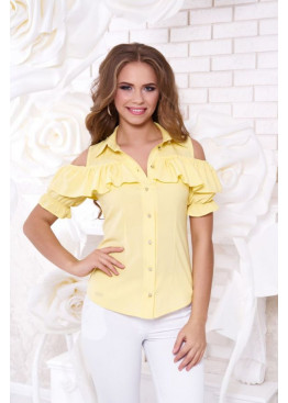 """Блуза """"Урана"""" с оголенными плечами и настрочным воланом, желтый"""