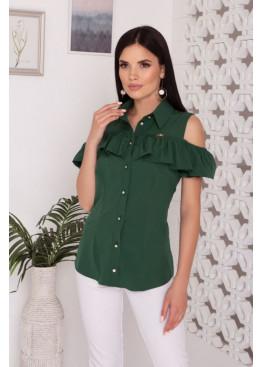 """Блуза """"Урана"""" с оголенными плечами и настрочным воланом, зеленый"""
