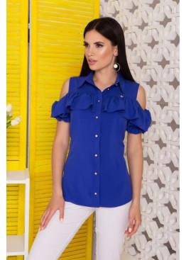 """Блуза """"Урана"""" с оголенными плечами и настрочным воланом, электрик"""