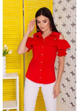 """Блуза """"Урана"""" с оголенными плечами и настрочным воланом, красный"""