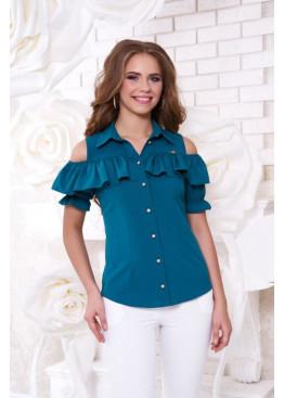 """Блуза """"Урана"""" с оголенными плечами и настрочным воланом, морская волна"""