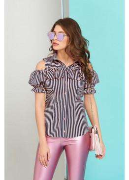 """Блуза """"Урана"""" с оголенными плечами и настрочным воланом, пудровая полоска"""