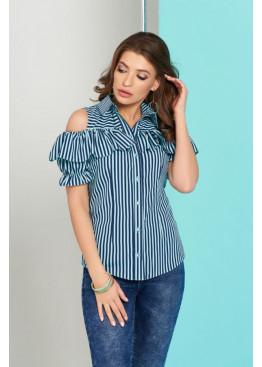 """Блуза """"Урана"""" с оголенными плечами и настрочным воланом, бирюзовая полоска"""